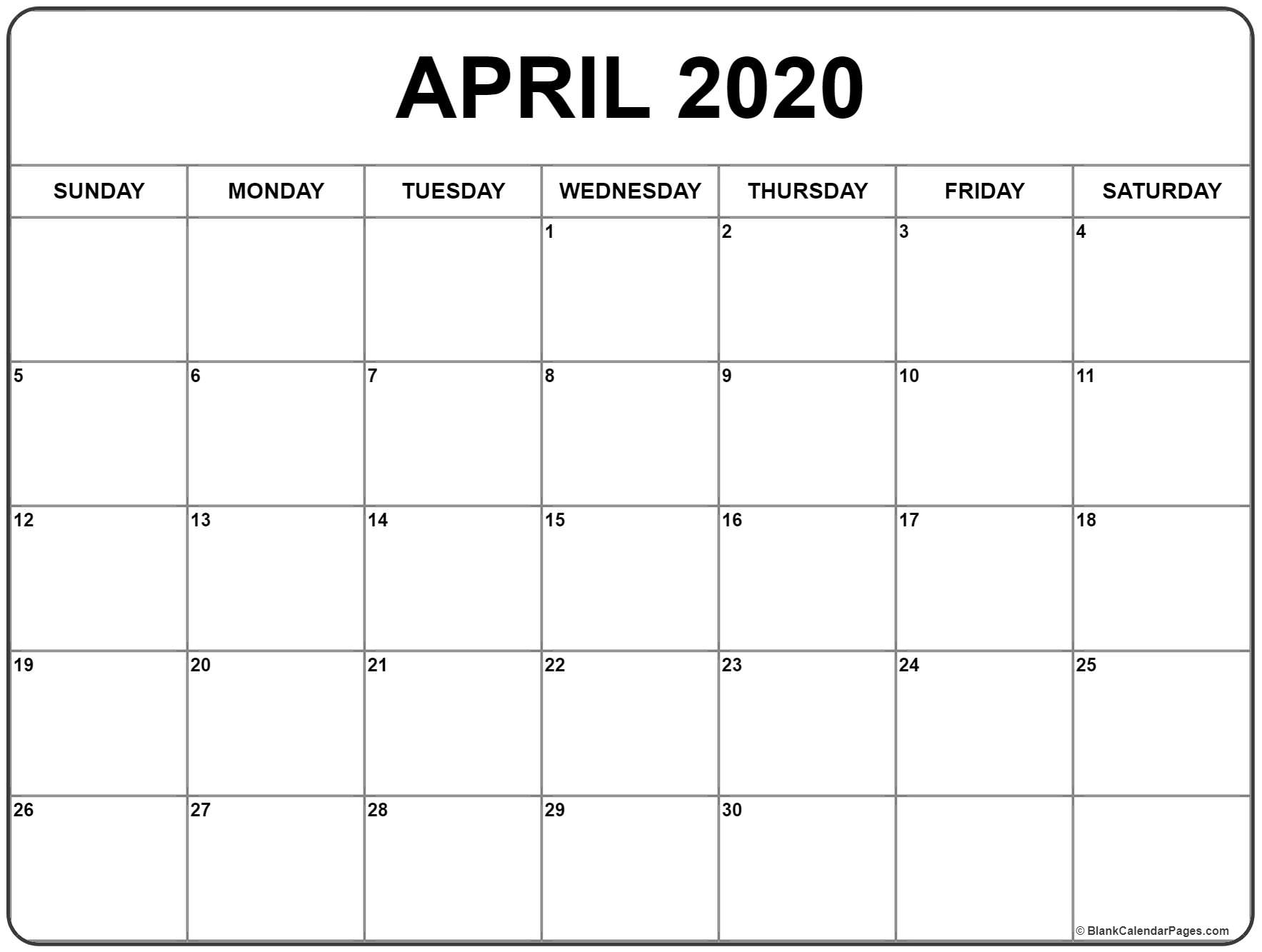 April 2020 Calendar | Free Printable Monthly Calendars for Free Printable Calendar 2020 Motivational