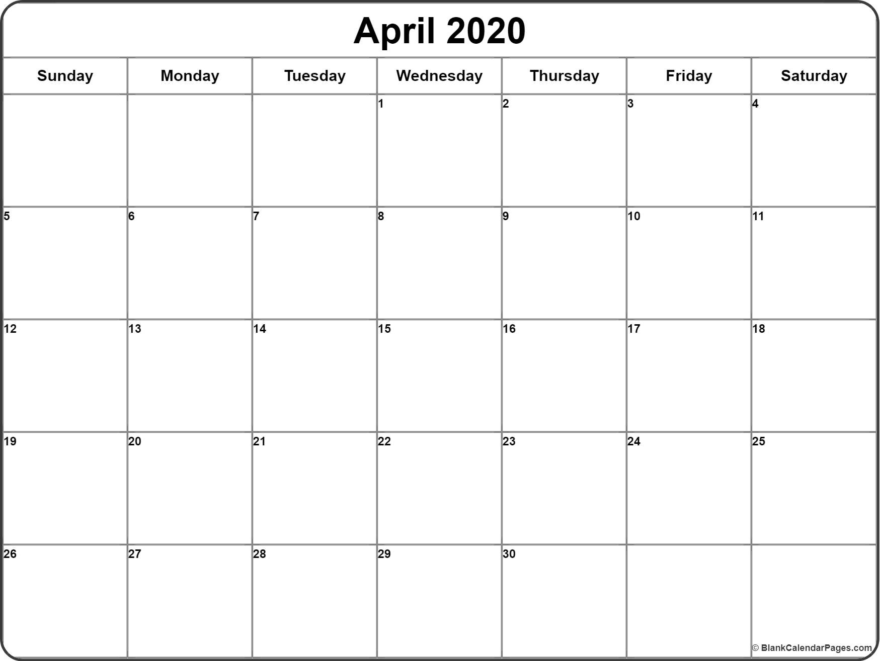 April 2020 Calendar | Free Printable Monthly Calendars with regard to 2020 Free Printable Calendars Without Downloading