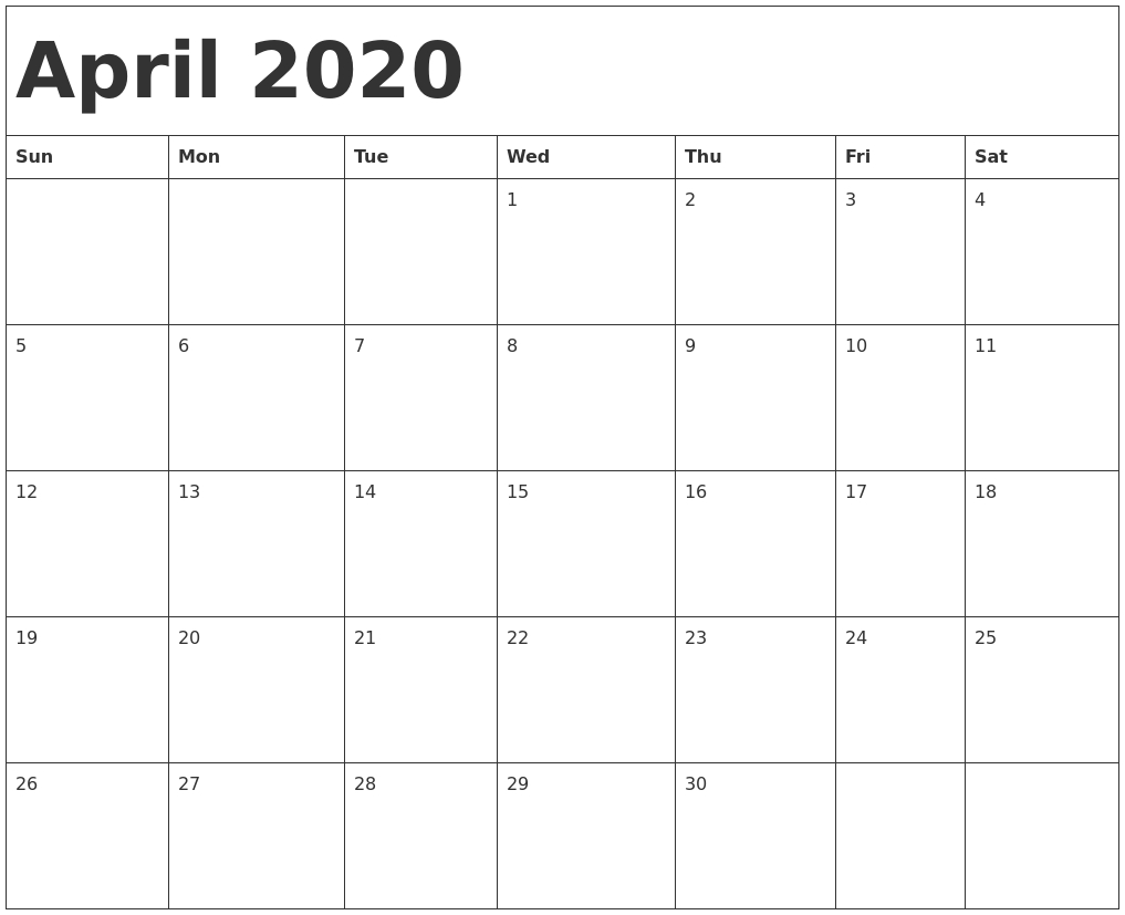 April 2020 Calendar Template for Calender 2020 Template Monday To Sunday