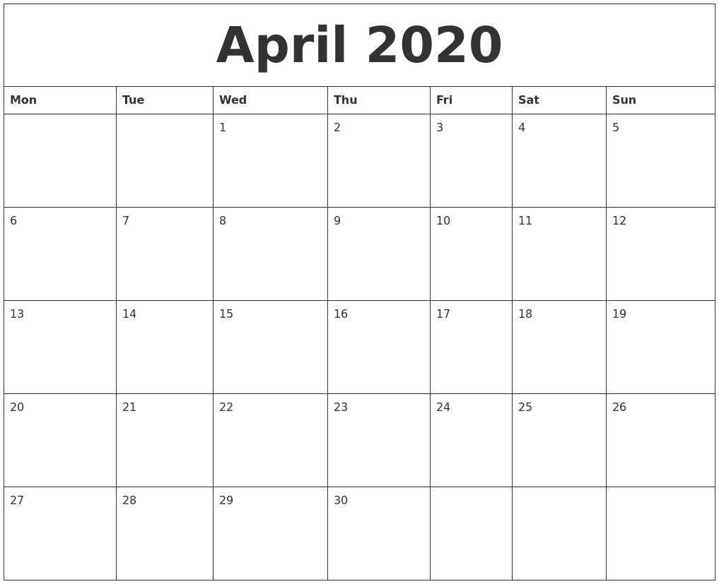 April 2020 Free Printable Weekly Calendar throughout Weekly Free Print Calendar 2019 2020