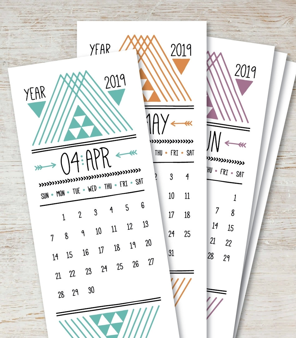 Arrows Printable Monthly Calendar 2019 2020 Digital Instant | Etsy with 5X 7 Printable 2019-2020