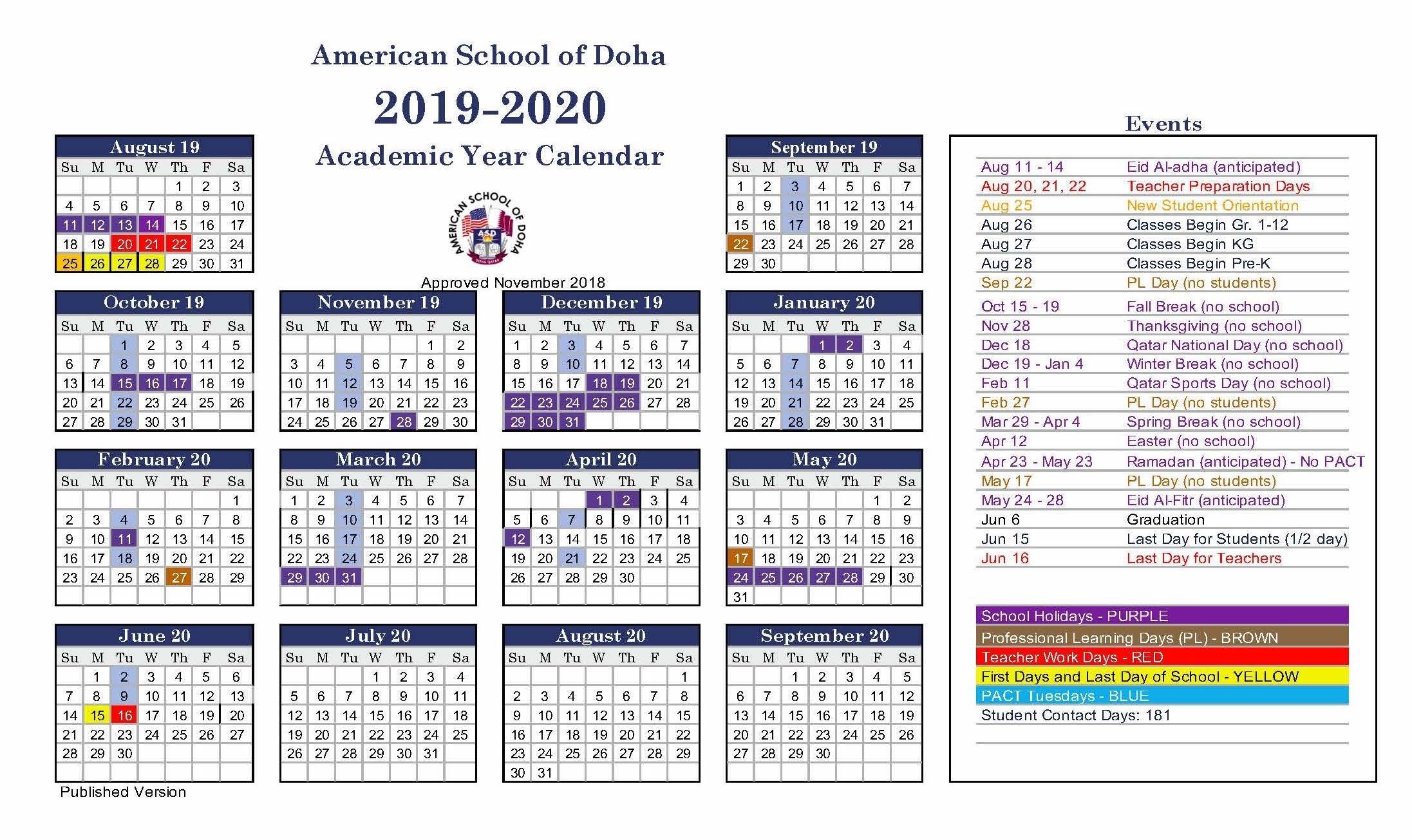 Asd Calendar 2018-2019 - American School Of Doha   International with regard to 2019 2020 Box Calender