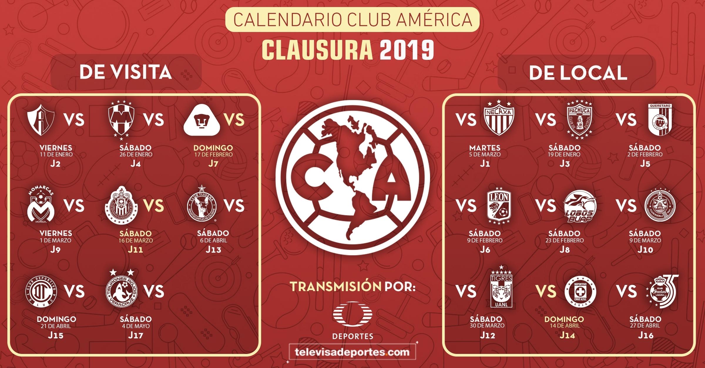Así Es El Calendario Del América En El Clausura 2019 with regard to Calendario Liga Mx 2019 2020