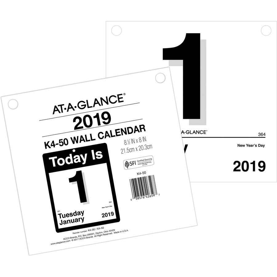 """At-A-Glance """"today Is"""" Daily Wall Calendar Refill - Yes - Daily - 1 Year -  January 2020 Till December 2020 - 1 Day Single Page Layout - 8 1/2"""" X 8"""" - intended for Calendar 2020 Large Box"""