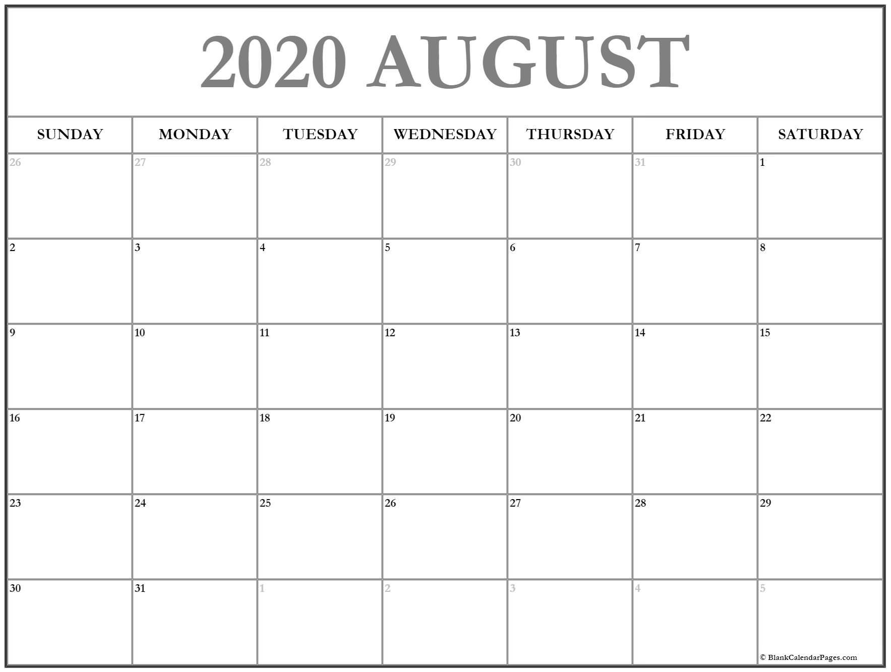 August 2020 Calendar | Free Printable Monthly Calendars regarding 2020 Printable Calendar By Month