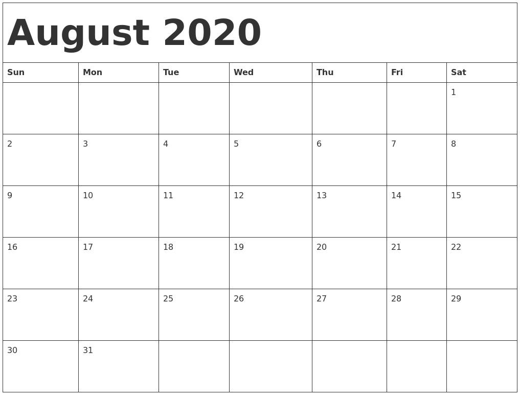 August 2020 Calendar Template intended for June July August 2020 Calendar