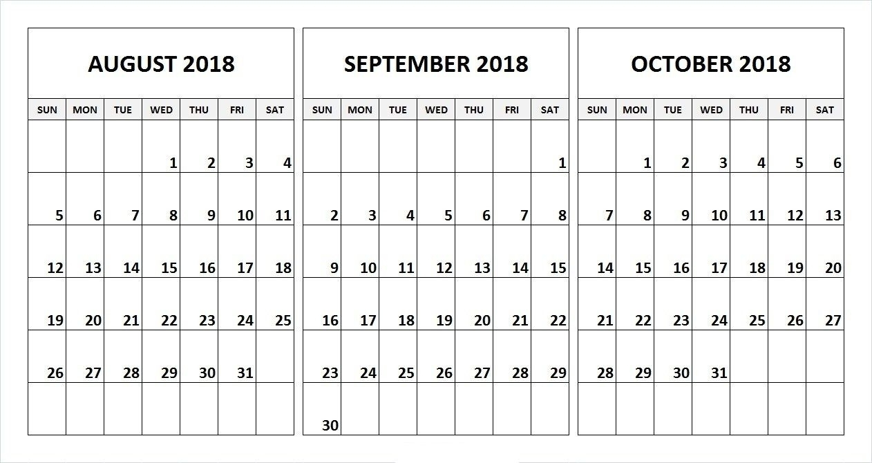 August September October 2018 Calendar Desk Template | August pertaining to Printable 3 Month Calendar Template