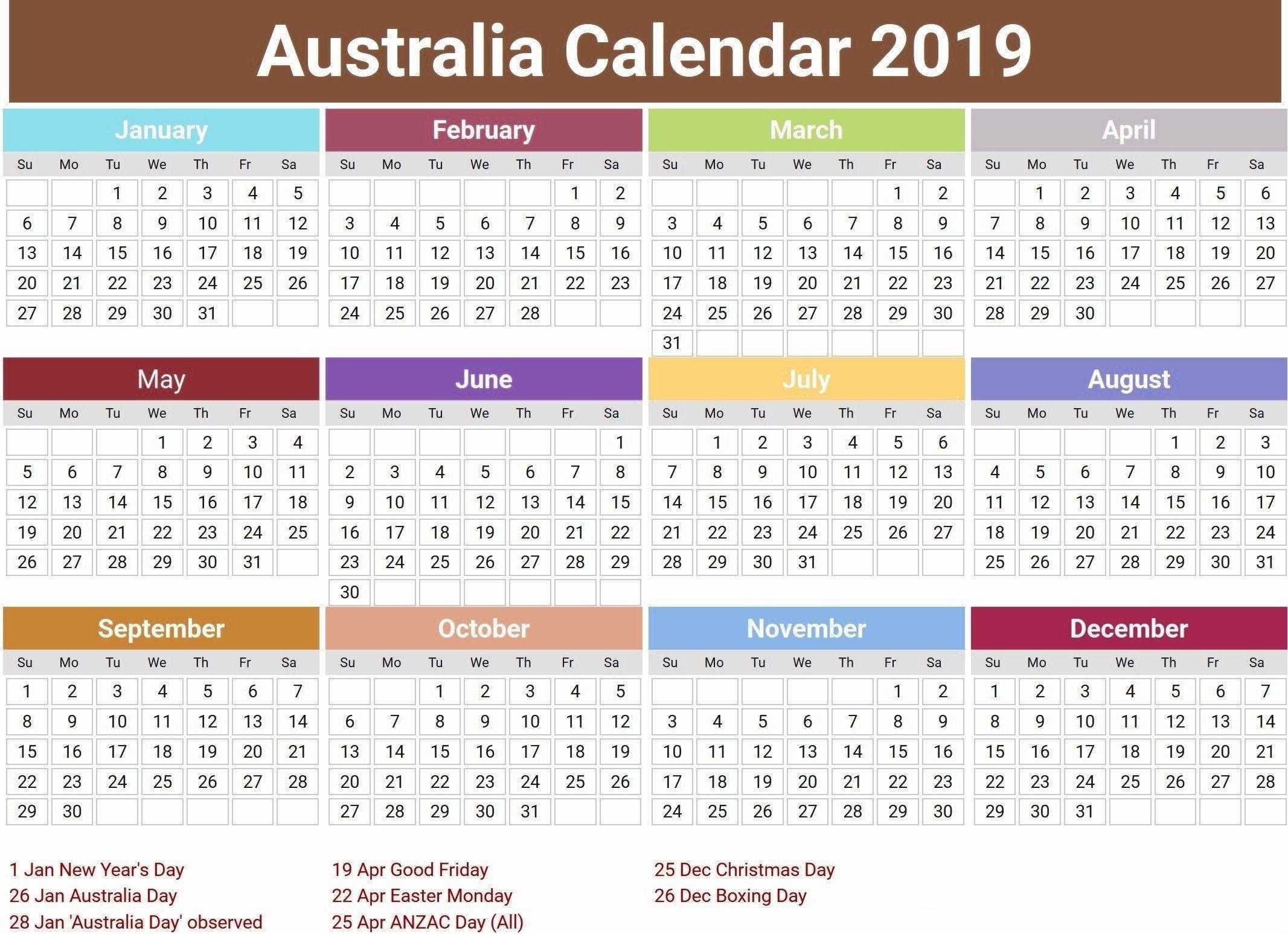 Australia 2019 Holidays Calendar #2019Calendar #2019Holidays #usa in Split Calendar 2019 2020 South Australia
