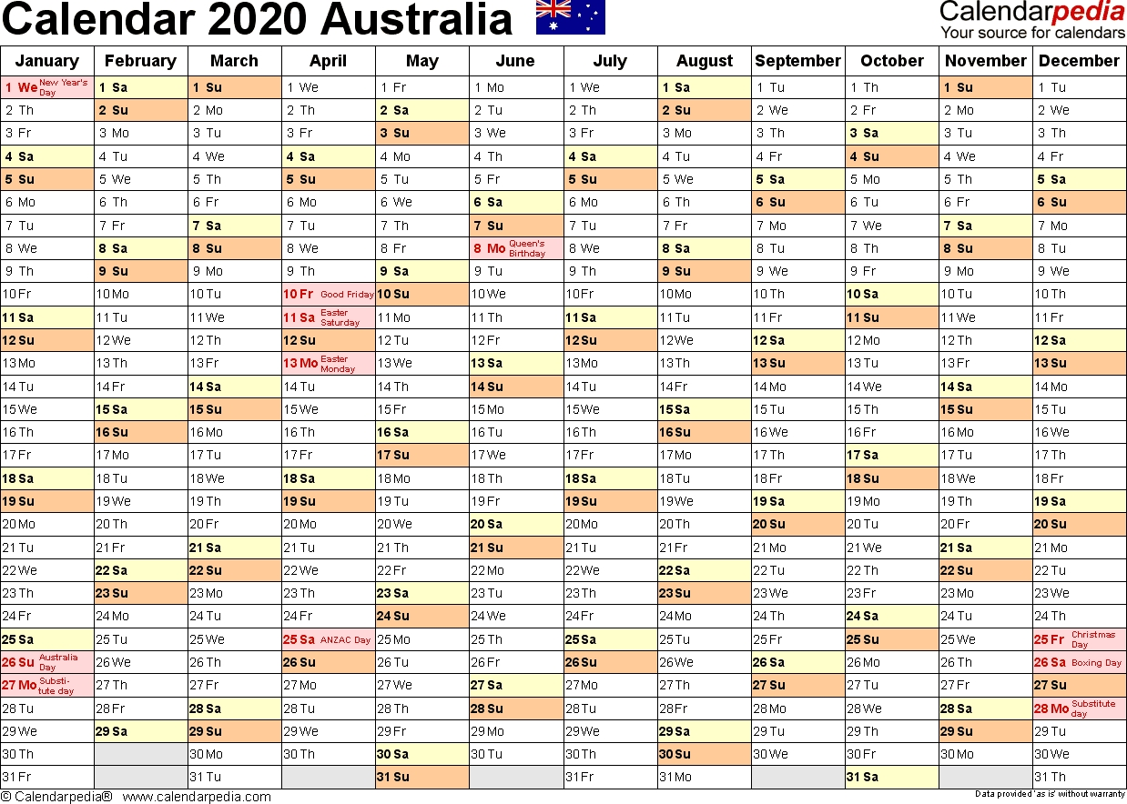 Australia Calendar 2020 - Free Word Calendar Templates within Calendar 365 2020 Printable