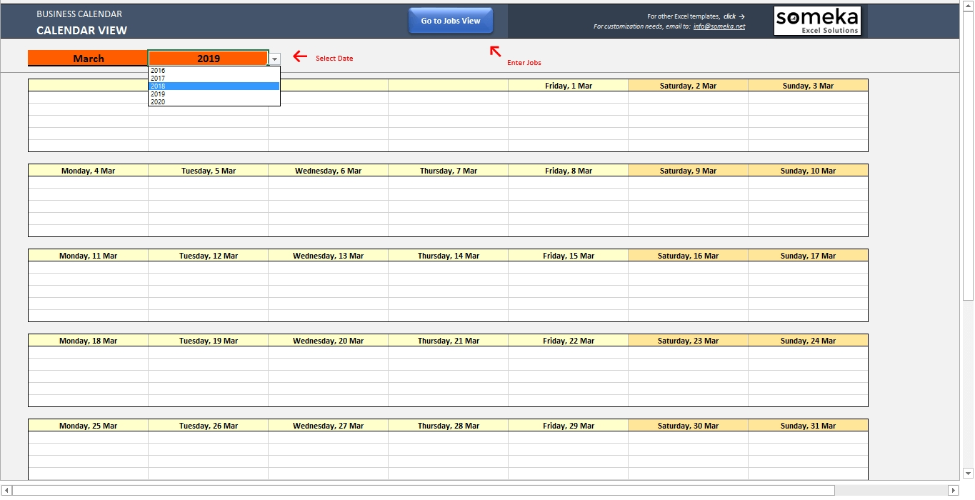 Automatic Schedule Planner within List Dates Spreadhsheet For 2019-2020