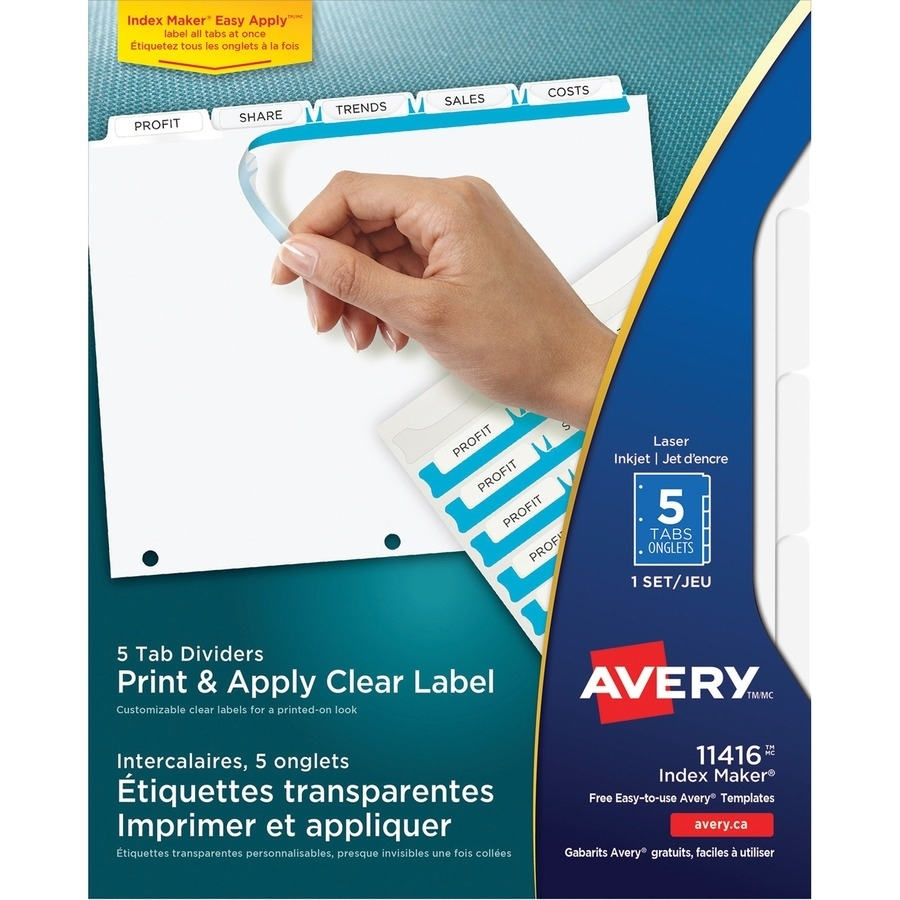 Avery 11416, Avery Index Maker Clear Label Divider With Tabs with regard to Free Printable Number Labels 1-31