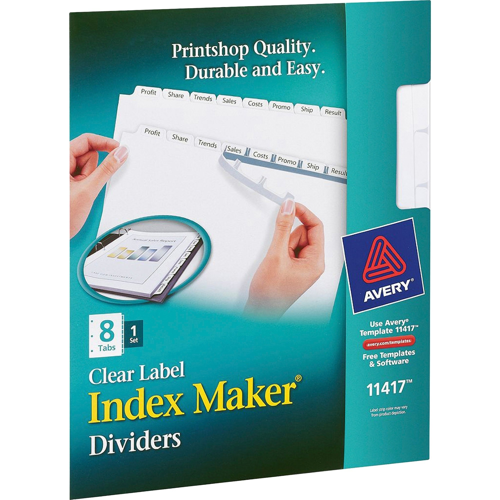 Avery® Index Maker Print & Apply Clear Label Dividers With White Tabs in Free Printable Number Labels 1-31