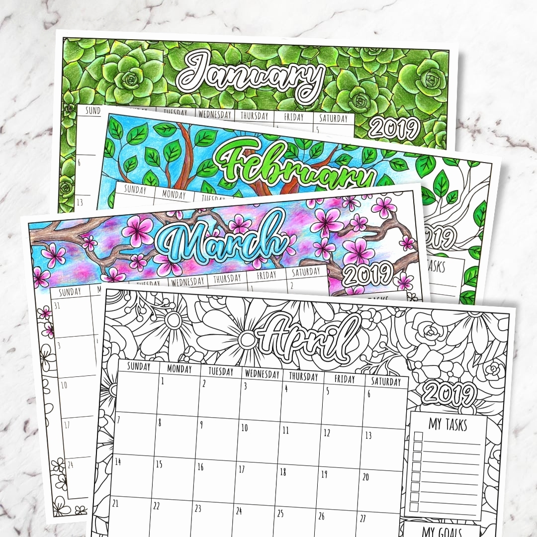 Awesome 35 Design Free Printable Calendar To Color | Rays-Store with Printable Coloring Calendar 2019-2020