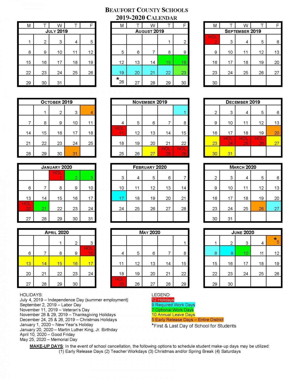 Bcs School Calendar | Beaufort County Schools regarding Homework Calendar 2019-2020