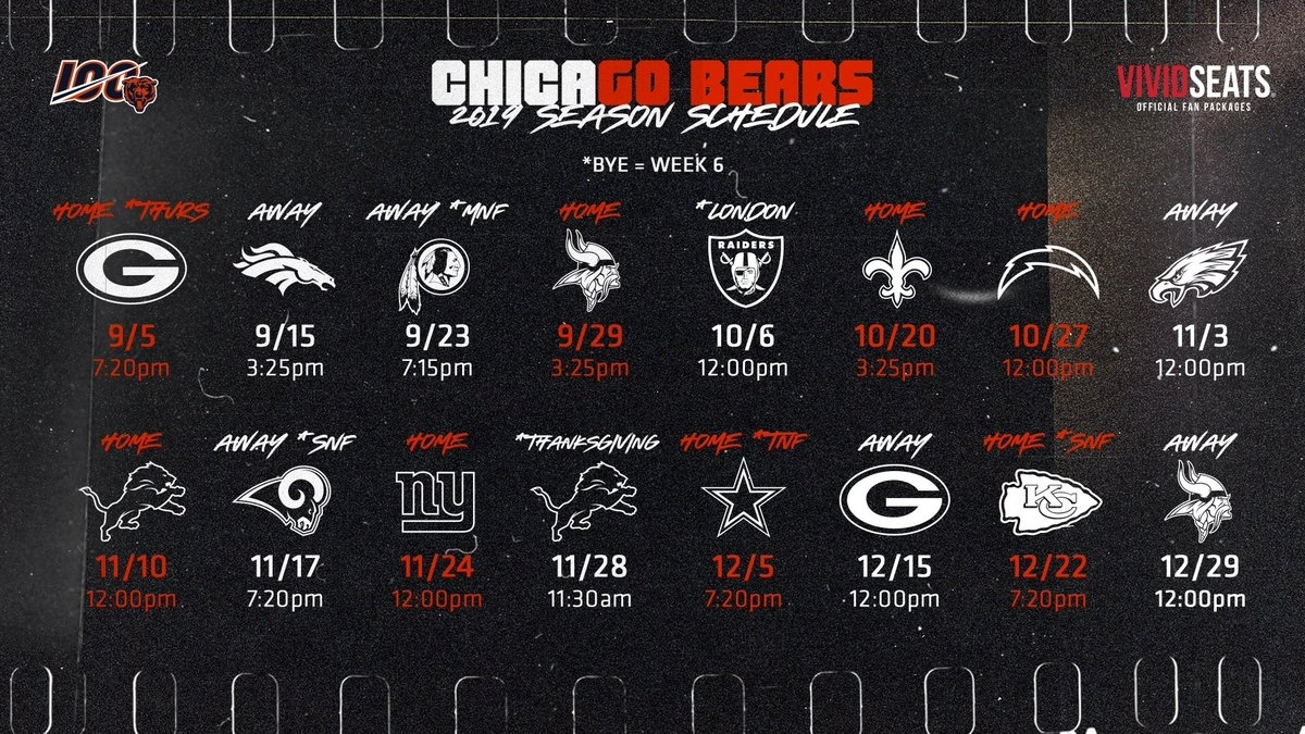 Bears / Nfl Thread 2019-2020 intended for 2019-2020 Nfl Schedule