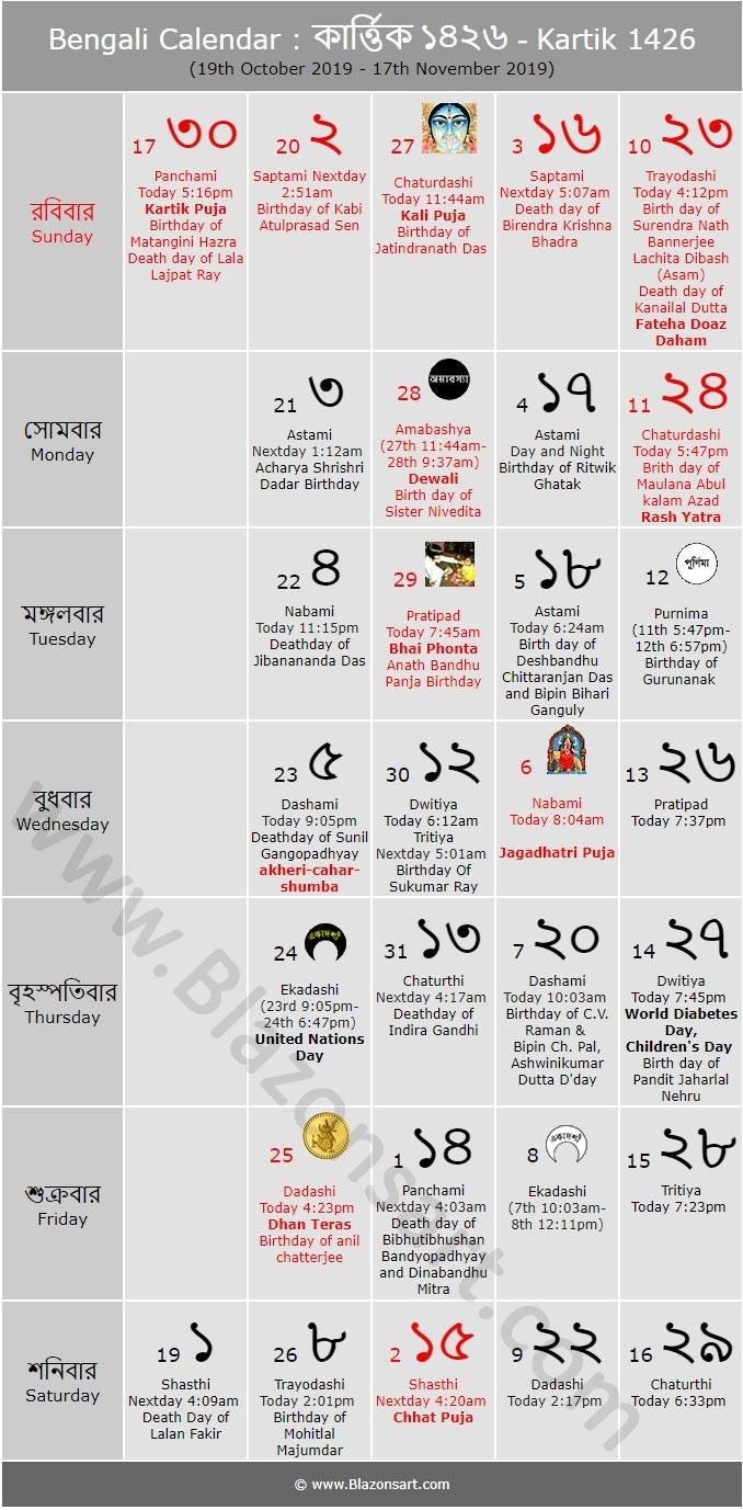 Bengali Calendar - Kartik 1426 : বাংলা কালেন্ডার intended for 1986 November Month Kannada Panchanga