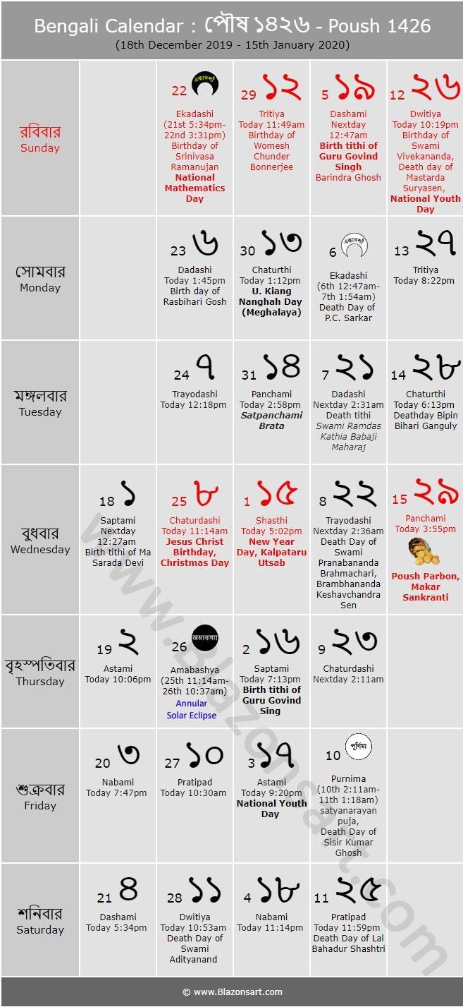 Bengali Calendar - Poush 1426 : বাংলা কালেন্ডার within 1986 November Month Kannada Panchanga