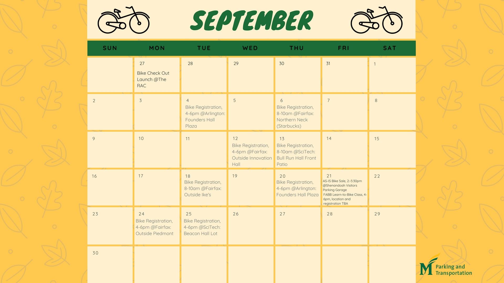 Biking Events In September - Parking And Transportation intended for Gmu Calendar 2019-2020