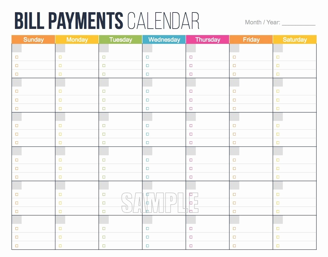Bill Budget Eet Payment Monthly Bills For Payments Calendar Editable with regard to Monthly Calendar For Paying Bills