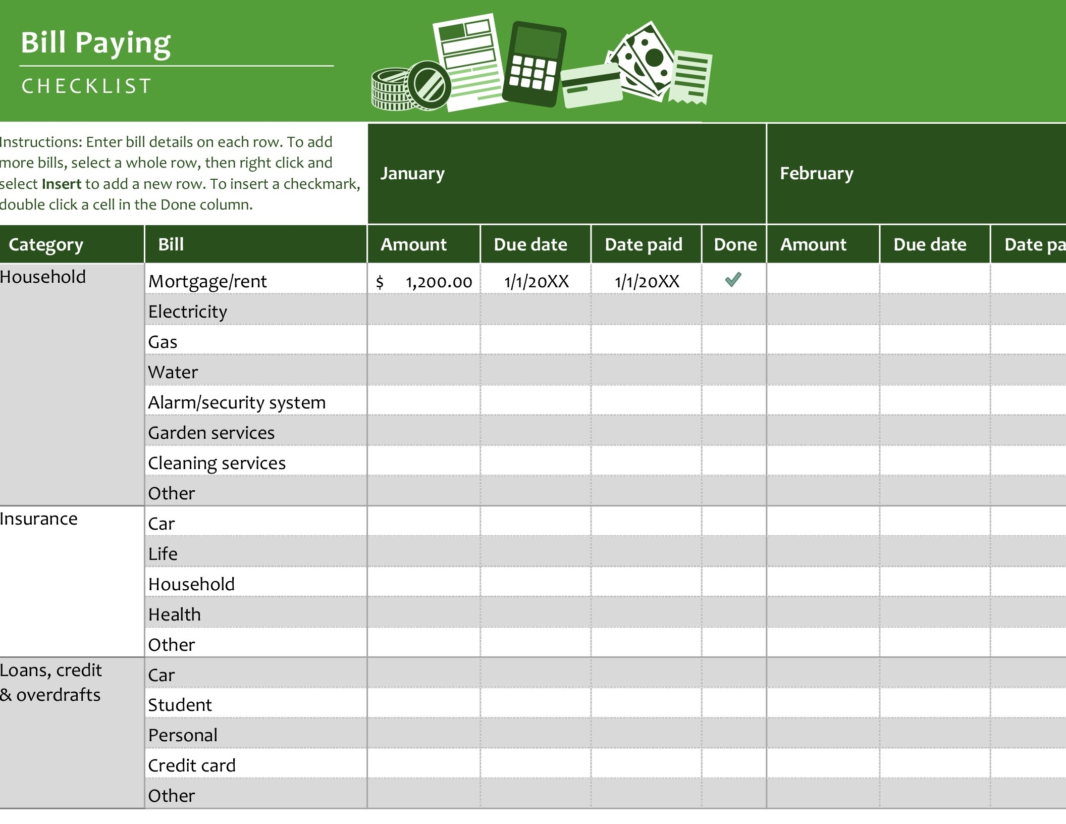 Bill Paying Checklist in Free Monthly Bill Payment Checklist Editable