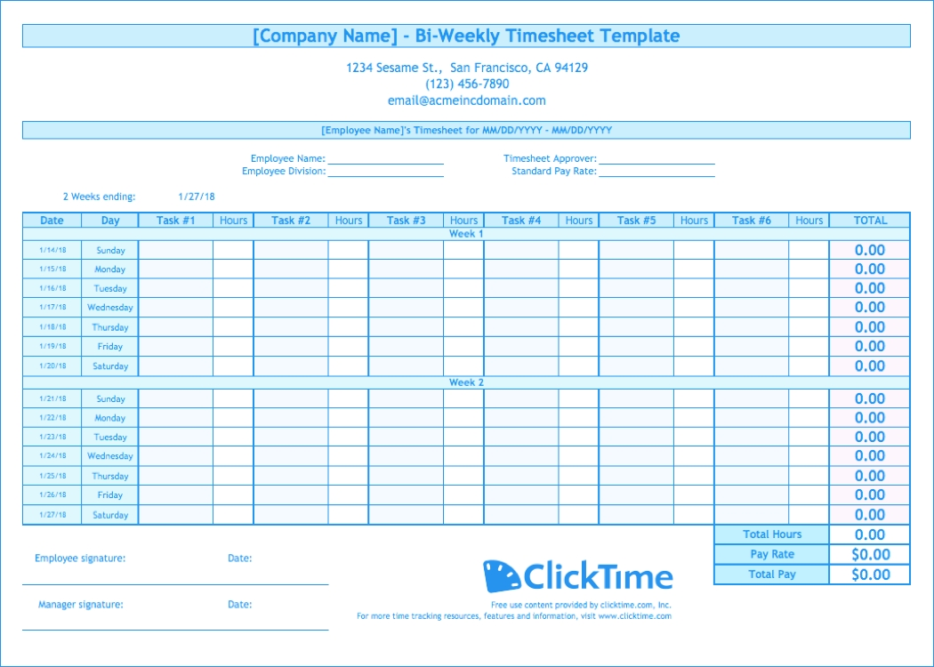 Biweekly Timesheet Template | Free Excel Templates | Clicktime pertaining to Printable Blank Bi-Weekly Employee Schedule