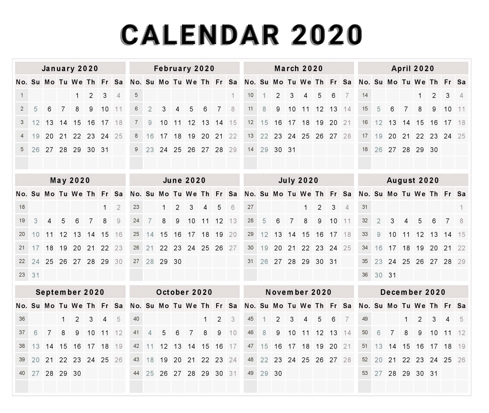 Blank 2020 One Page Calendar Printable - Free Printable Calendar with 2020 Calendar Printable One Page