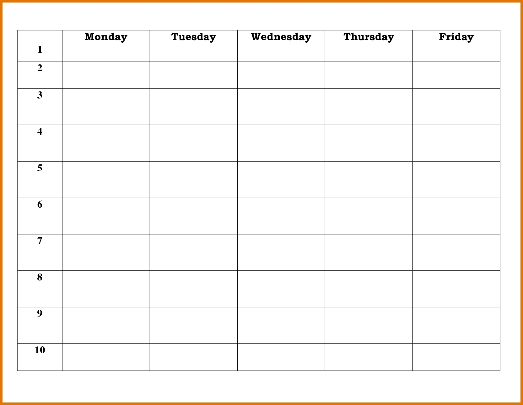 Blank 5 Day School Timetable | Calendar Printing Example inside Day By Day Schedule Template
