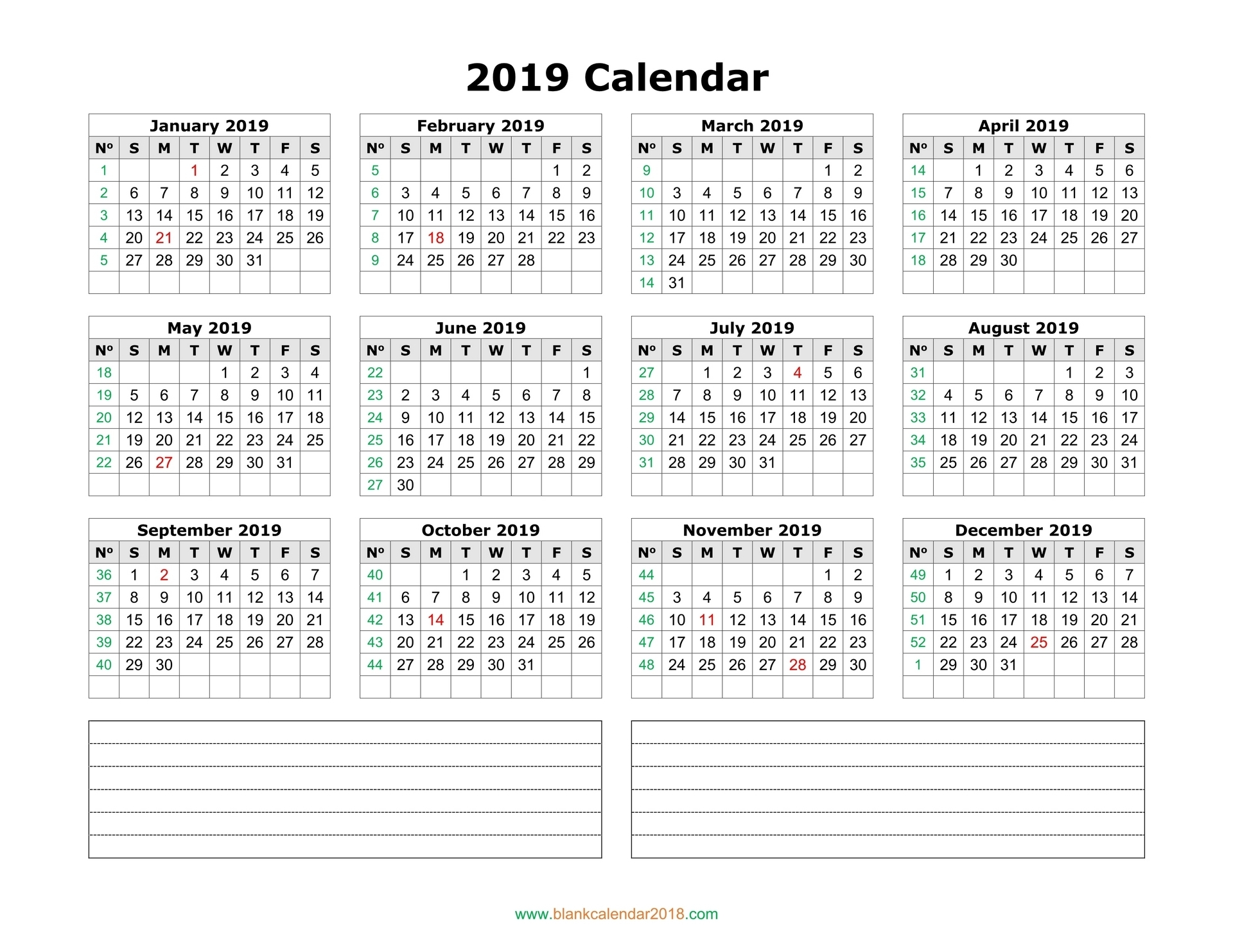 Blank Calendar 2019 throughout One Page 2 Years Calendar 2019 2020 With Week Number