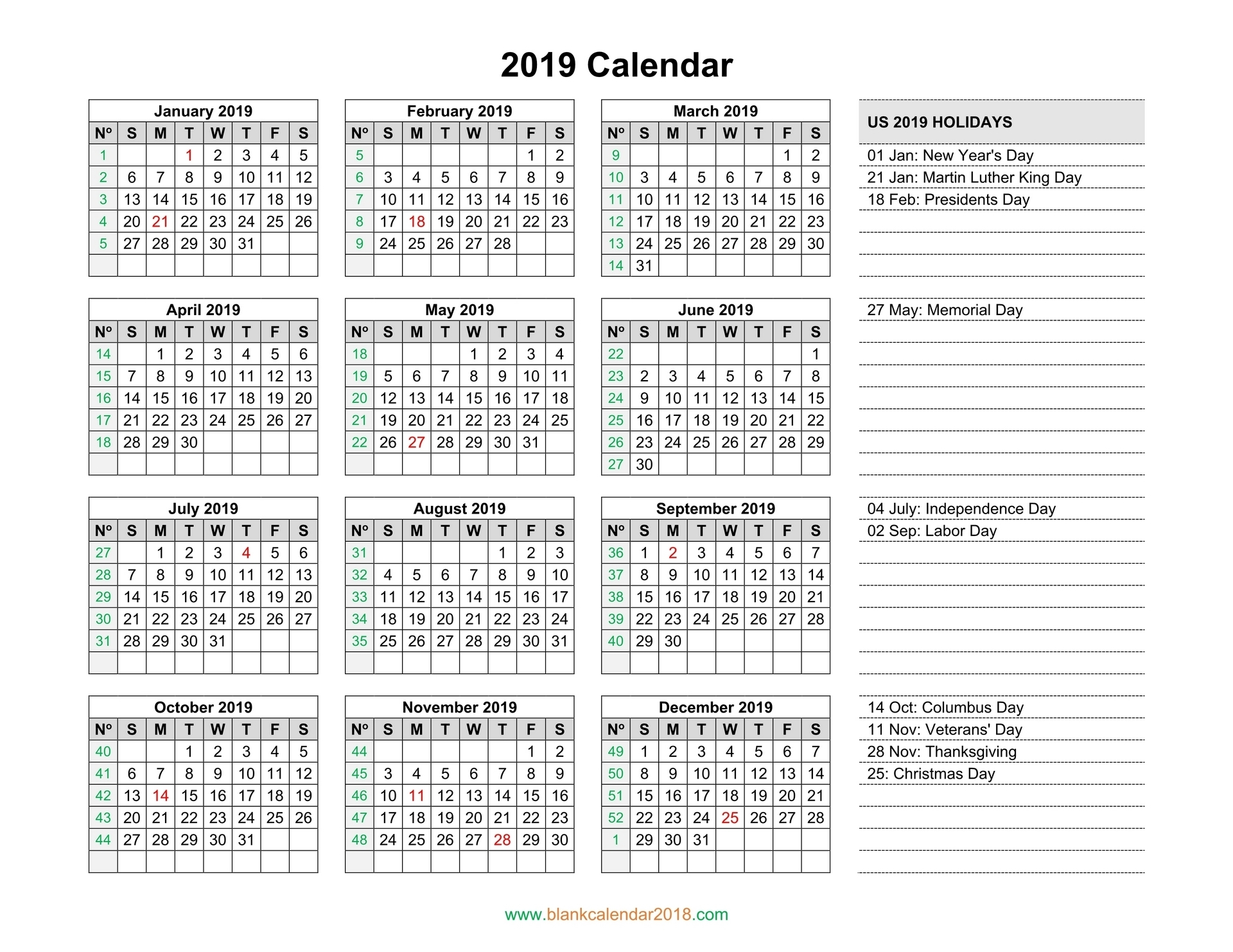 Blank Calendar 2019 with regard to One Page 2 Years Calendar 2019 2020 With Week Number