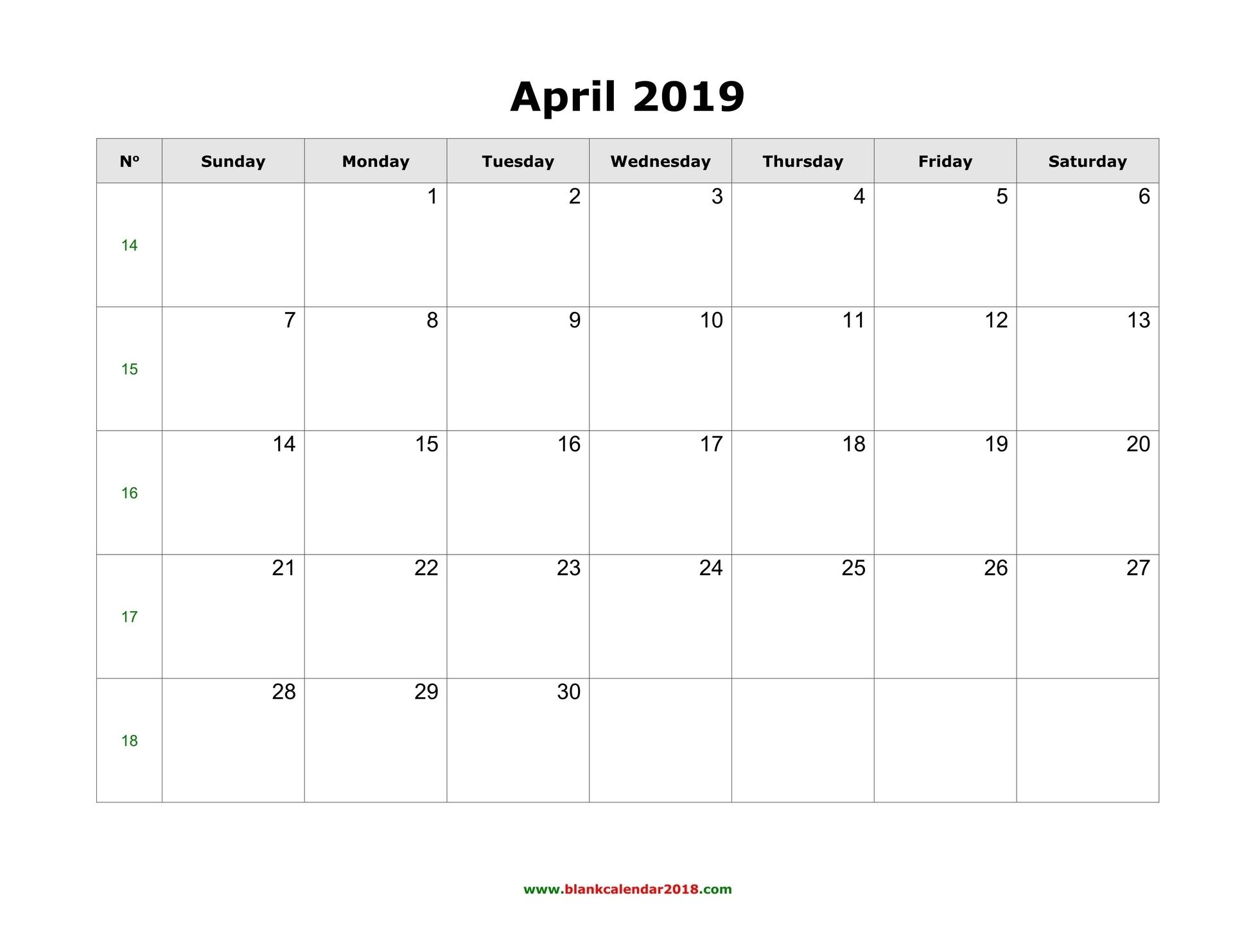 Blank Calendar For April 2019 inside Calendar April 2019 Thru April 2020, Printable