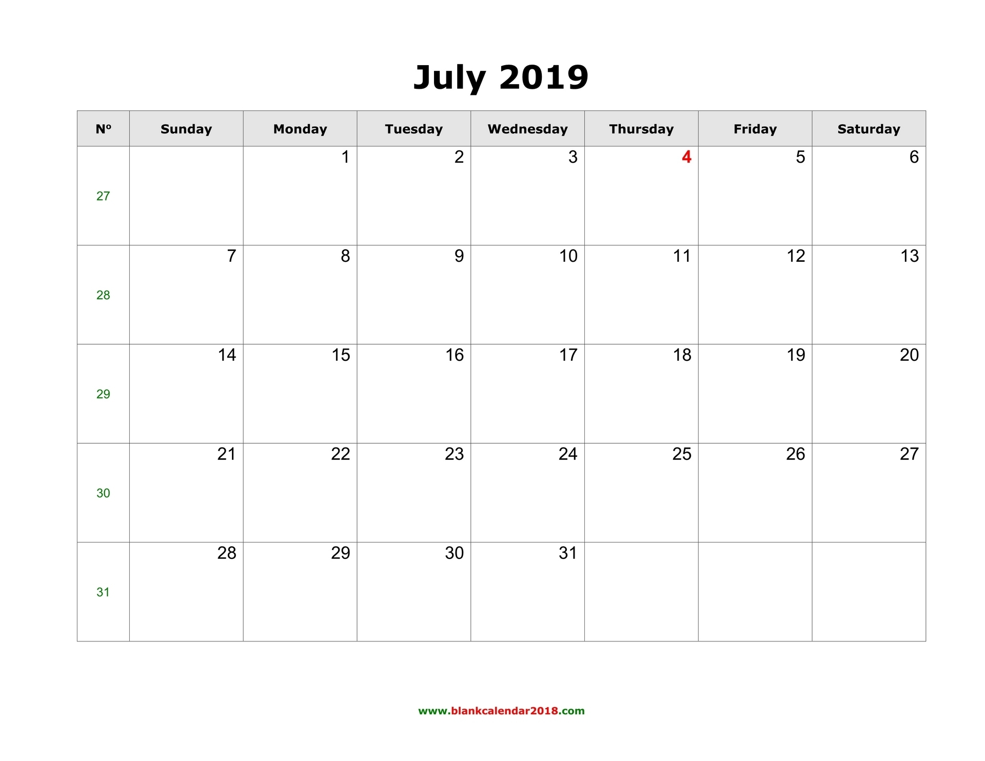 Blank Calendar For July 2019 in Calendar July 2019 To June 2020 Free