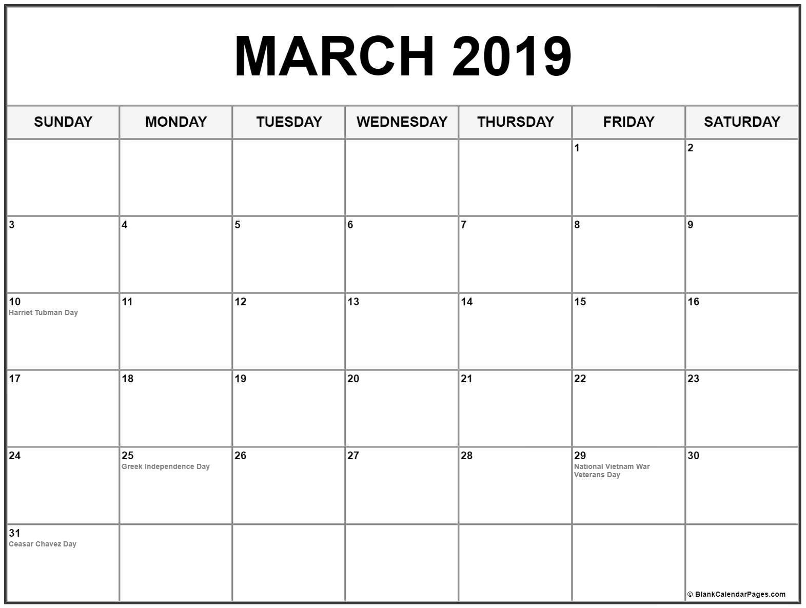 Blank Calendar March 2019 Printable | 250+ March 2019 Calendars within 31 Day Blank Calendar Template