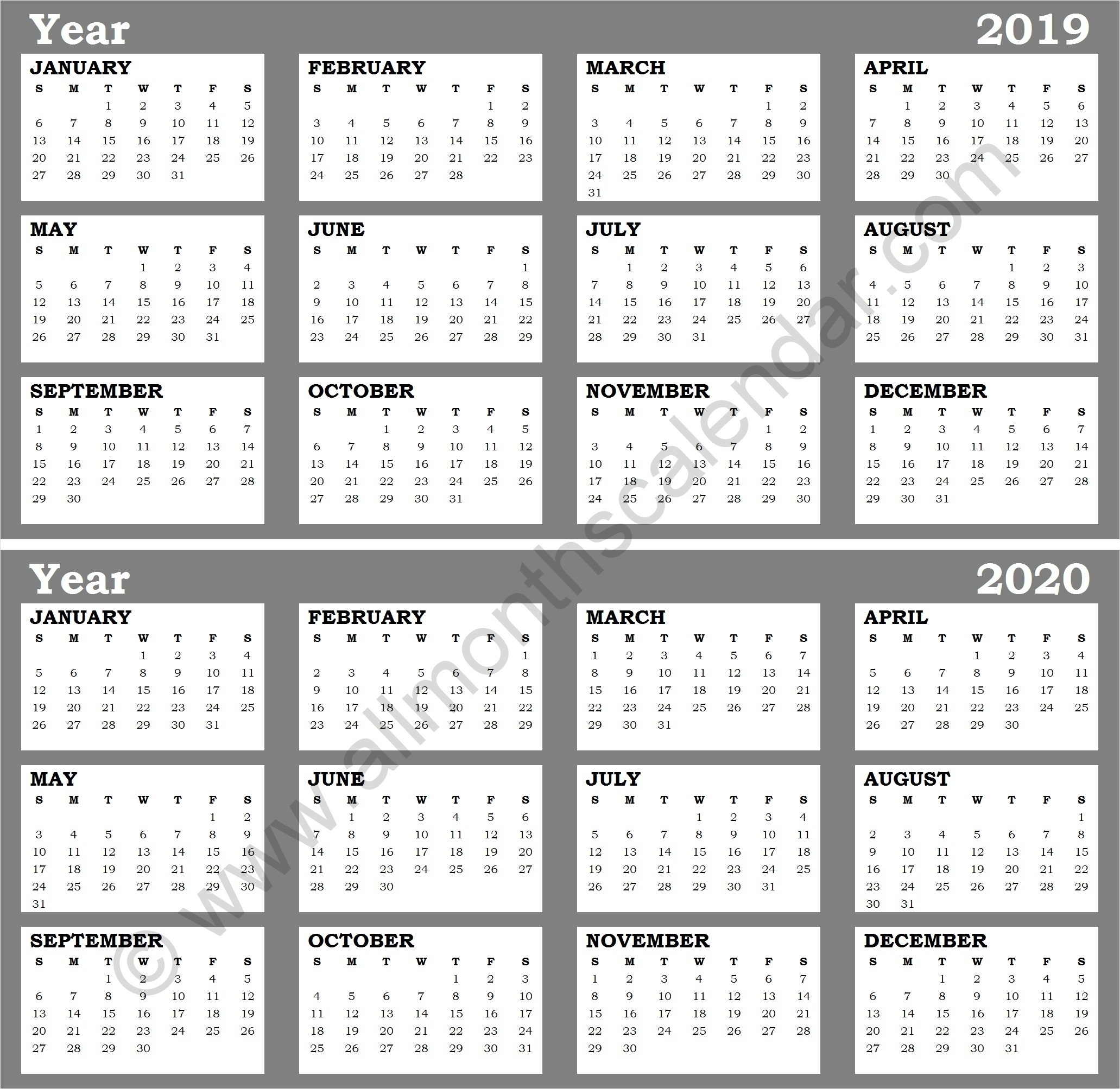 Blank Calendar Template 2019 To 2020 | Printable Blank Calendar Template within 2019 And 2020 Calendar Template Fill In