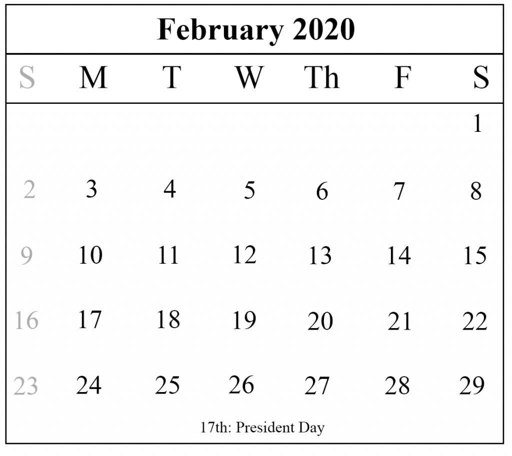 Blank February 2020 Calendar Printable Template – Pdf Word Excel inside National Day Calendar 2020 Printable