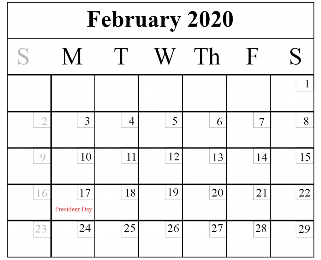 Blank February 2020 Calendar Printable Template – Pdf Word Excel inside Outlook Calendar 2020
