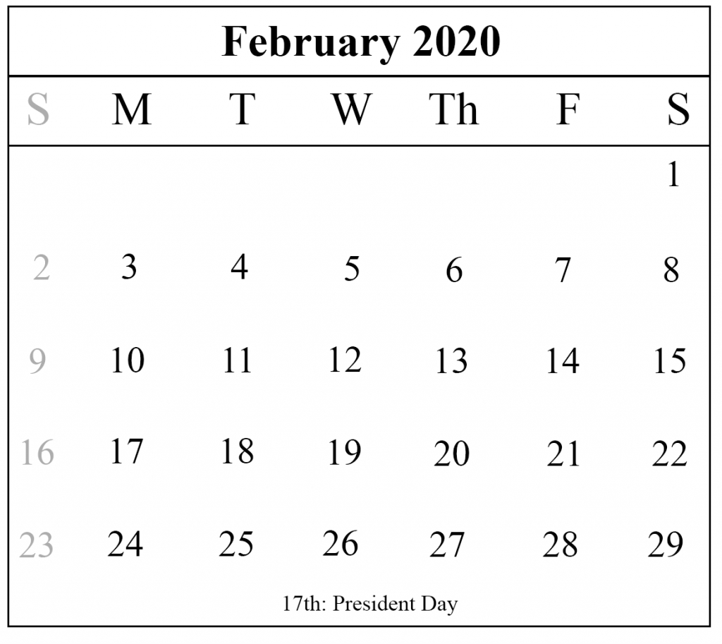 Blank February 2020 Calendar Printable Template – Pdf Word Excel throughout Special Calendar Days 2020