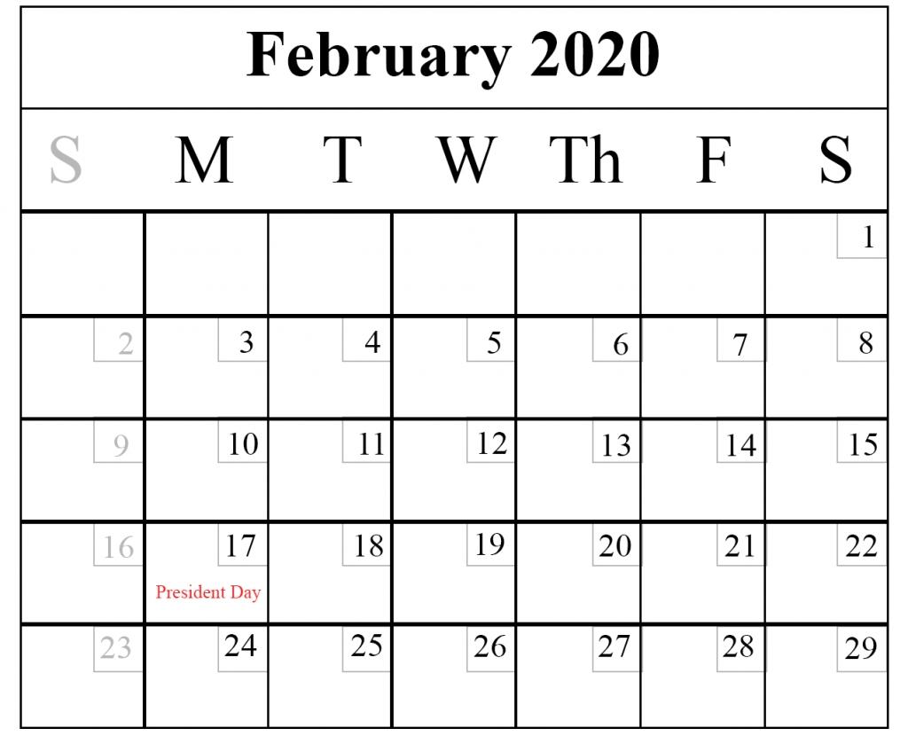 Blank February 2020 Calendar Printable Template – Pdf Word Excel with regard to National Day Calendar 2020 Printable