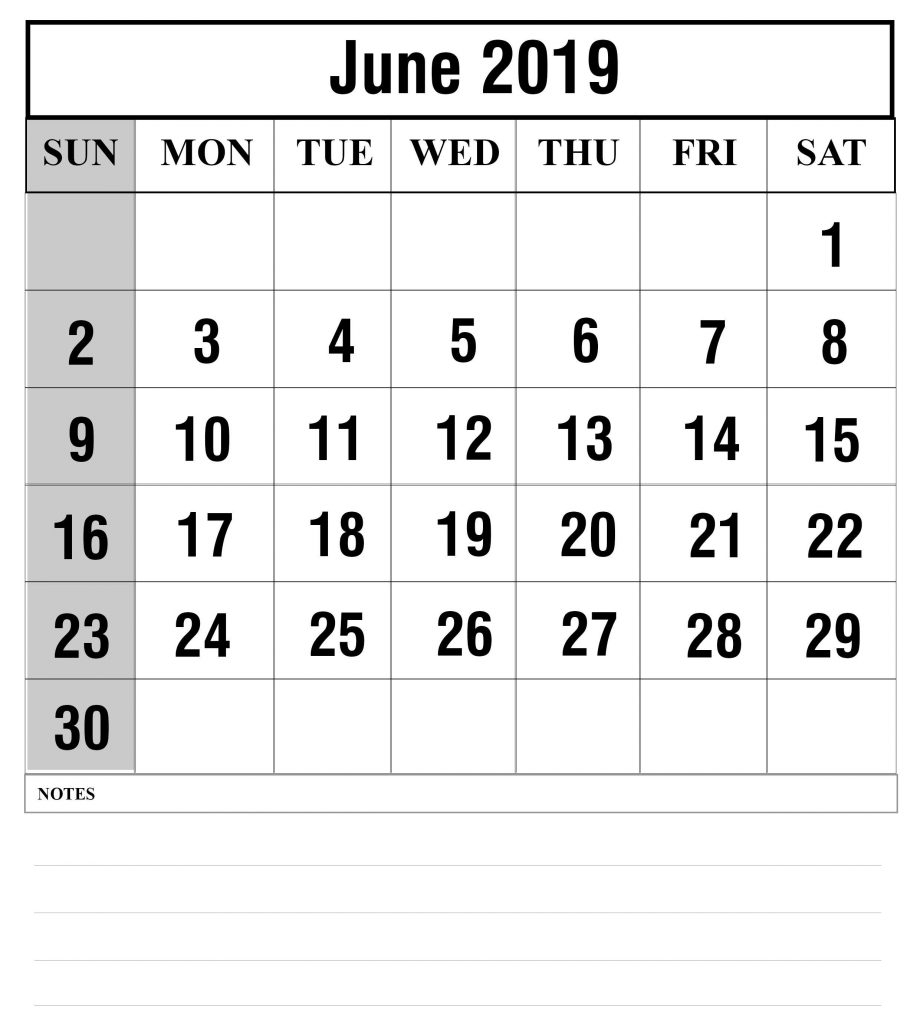 Blank June 2019 Calendar Printable In Pdf, Word, Excel | Printable regarding Free Printed Calendars From June 2019 To June 2020