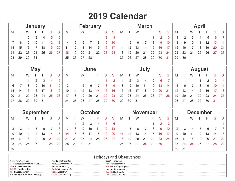 Blank Printable Calendar 2019 With Holidays   Printableshelter with regard to Free Printable Calendars 2019-2020 With Holidays
