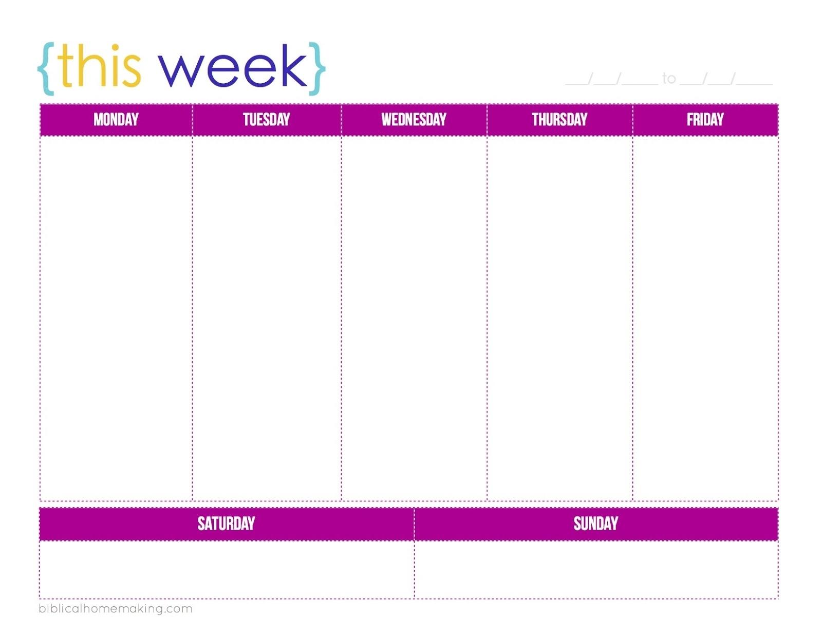 Blank Printable Weekly Schedule Template One Week | Smorad pertaining to Free One Week Schedule Template