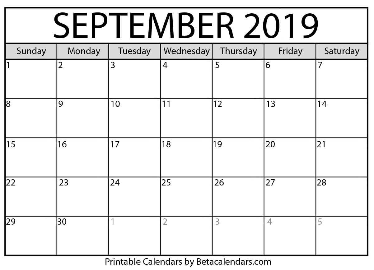 Blank September 2019 Calendar Printable - Beta Calendars with regard to Calender September 2019 To August 2020