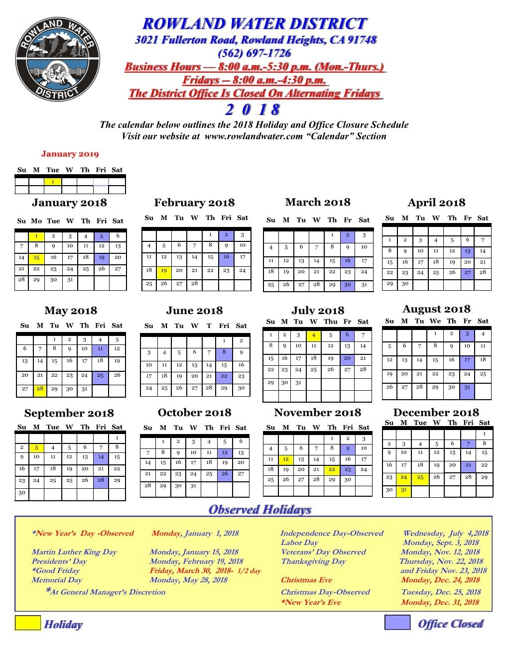 Board Of Directors | Rowland Water District intended for 9/80 2020 Calendar