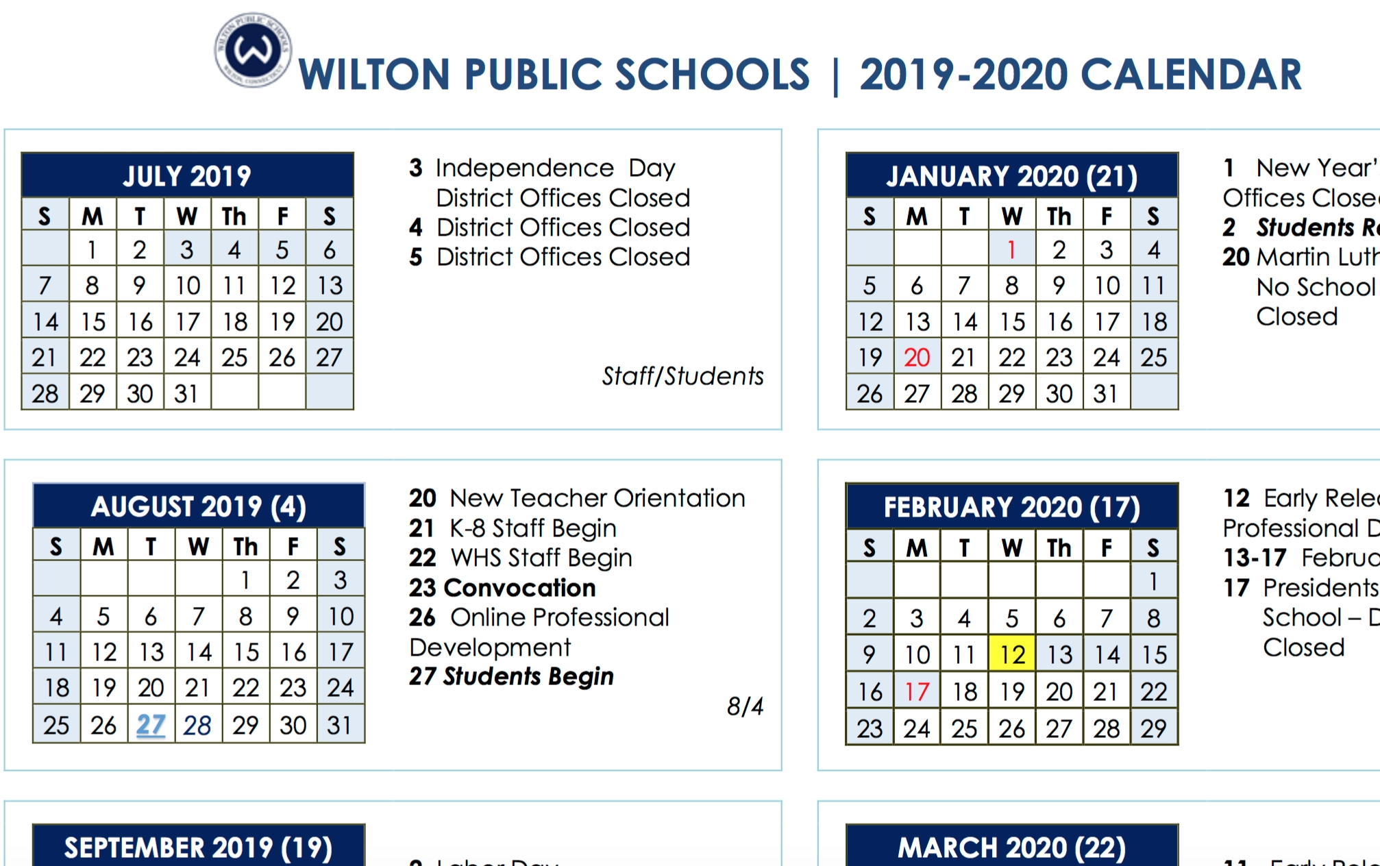 Board Of Education Approves 2019-2020 And 2020-2021 School Year in Special Days 2019-2020