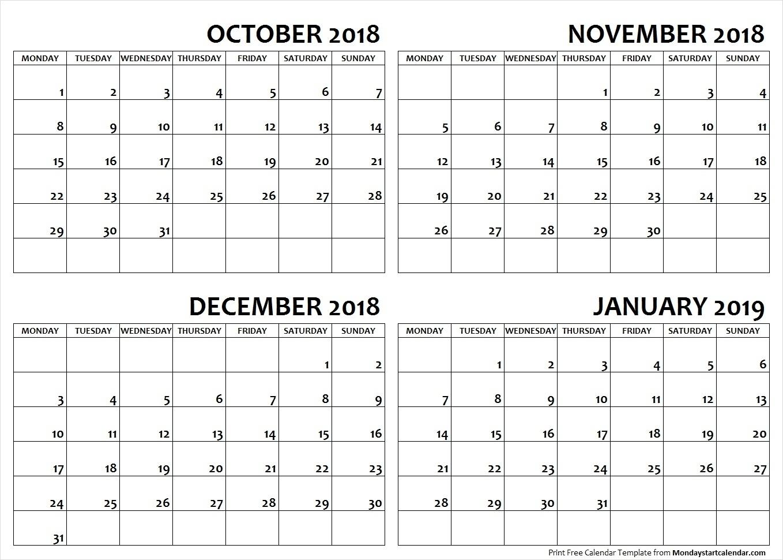 Bravo Calendar October December 2019 And January 2019 * Calendar intended for Free 8/2019 -5/ 2020 Printable Calendar
