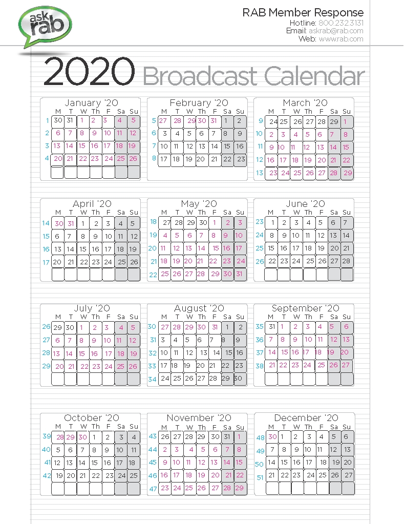 Broadcast Calendars | Rab for 2020 Calendar Sunday To Saturday