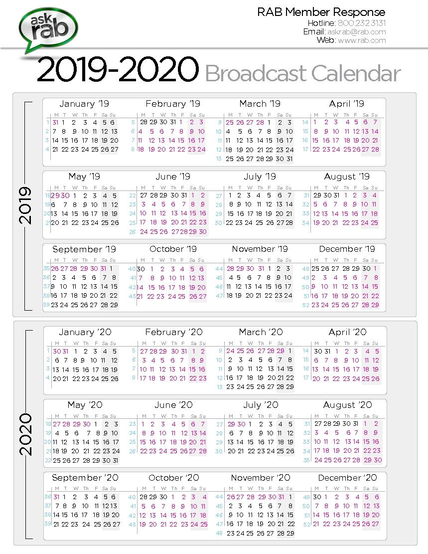Broadcast Calendars | Rab intended for Unit 4 Calendar 2019-2020