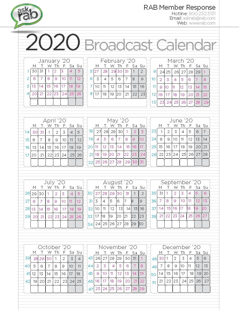Broadcast Calendars | Rab within 2020 Calendar Sunday Through Saturday