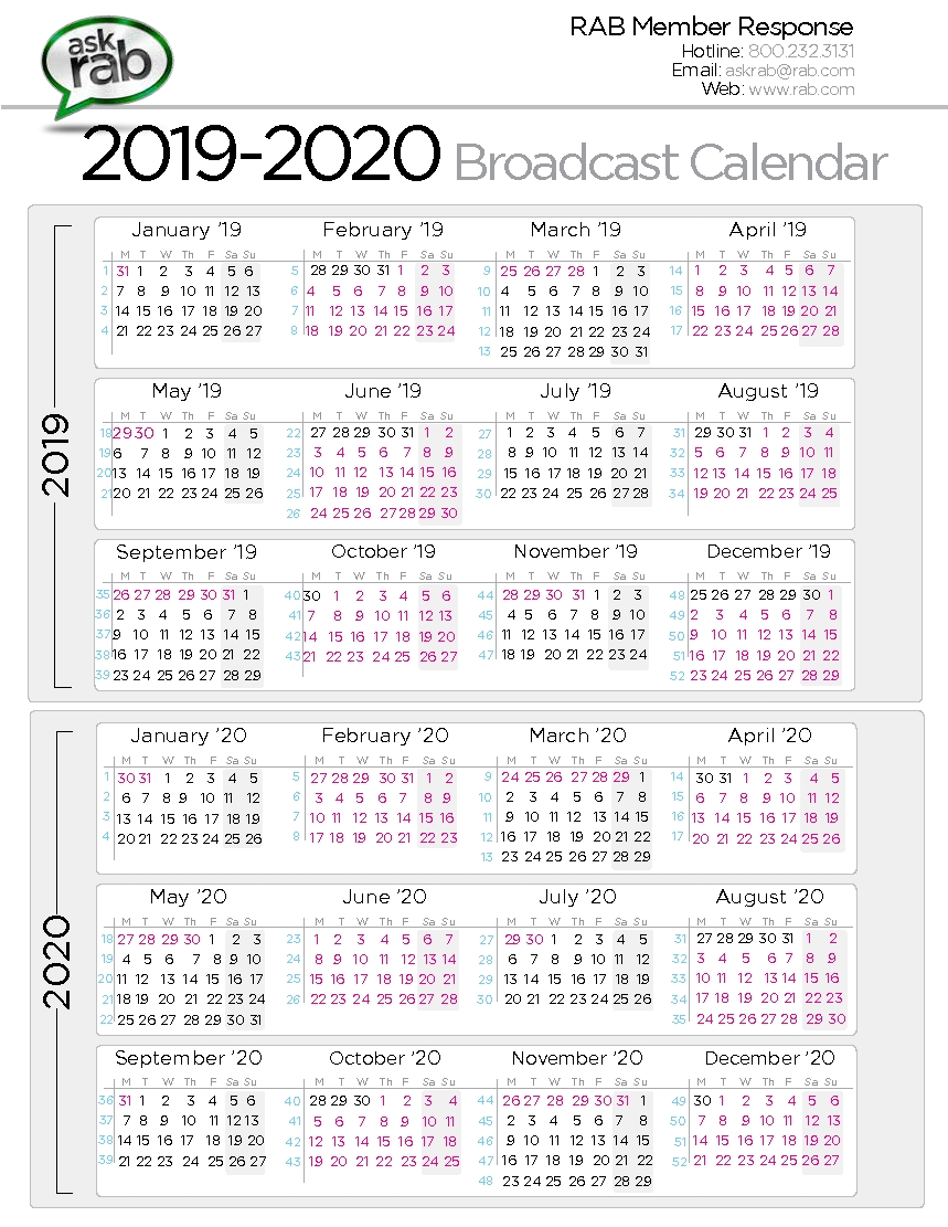 Broadcast Calendars | Rab within Pritnable 5 Day Calendar 2019-2020