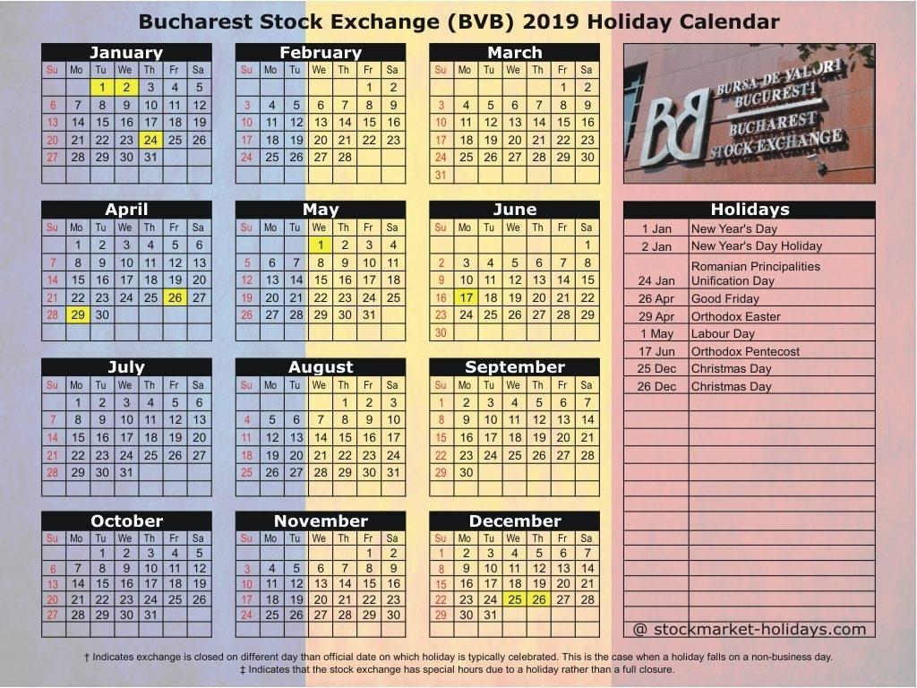 Bucharest Stock Exchange 2019 / 2020 Holidays : Bvb Holidays 2019 / 2020 pertaining to Calendar 2020 Pdf Romania