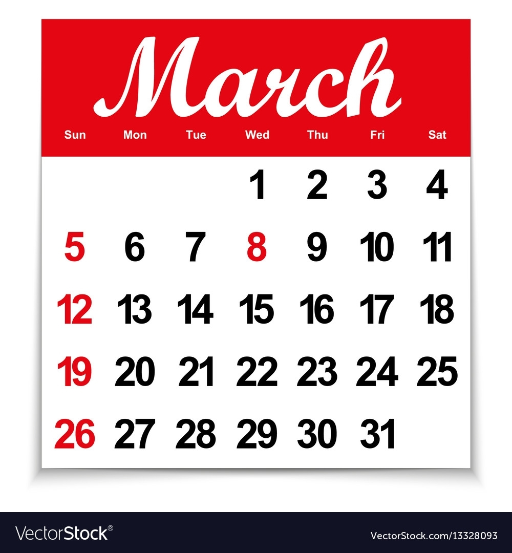 Calendar 2017 With The Month Of March Days Of The Vector Image within Days Of The Month Images